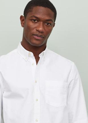 Белая рубашка h&m, regular fit !
