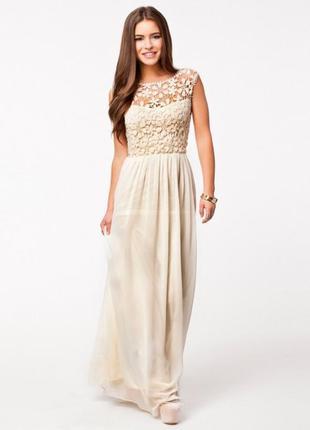 Платье в пол длинное кружево шифон летнее сарафан style new