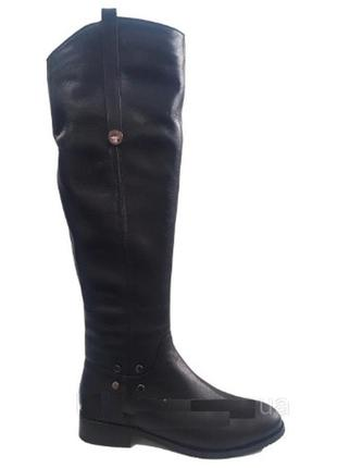 Зимние кожаные сапоги женские ботфорты gama