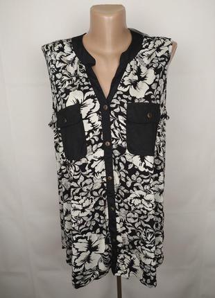 Блуза новая красивая вискозная с накладными карманами f&f uk 1...