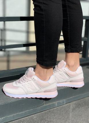 New balance 574 pink powder🔺женские кроссовки   нью беланс
