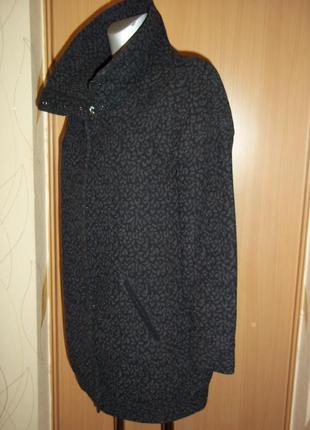 Пальто куртка на молнии серый леопард актуальный принт