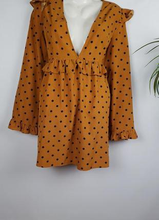 Платье в горохи с рюшами boohoo p.46/3xl