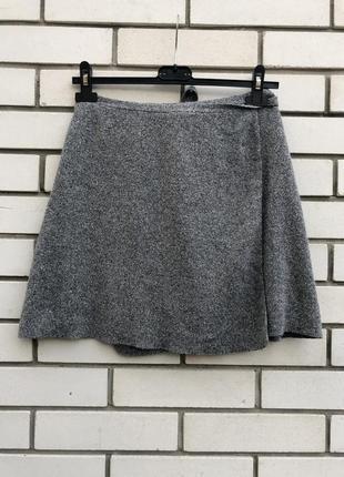 Шелковая серая юбка на запах topshop