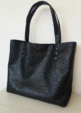Новая кожаная сумка шоппер