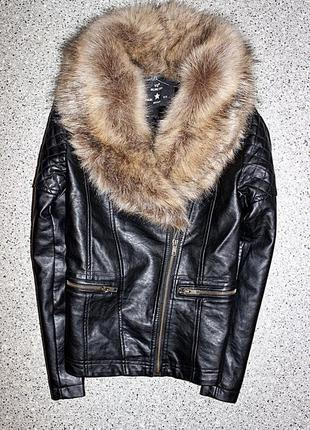 Куртка кожанка косуха с мехом одежда 10-11 лет