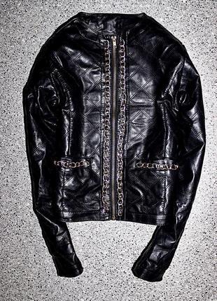Куртка утеплённая кожанка одежда 9-10 лет