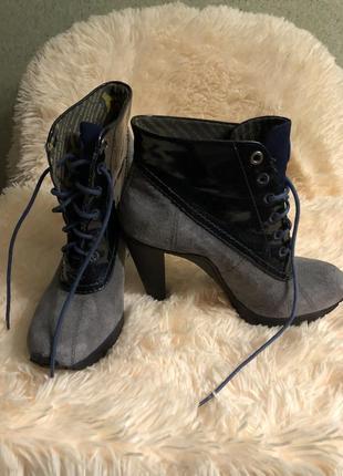 Ботинки замша+лак donna karan