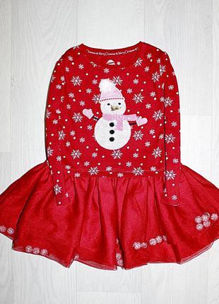 Красное платье снеговик снежинки новогоднее