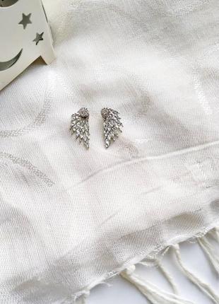 Серьги перья со стразами с камнем стильные 2019