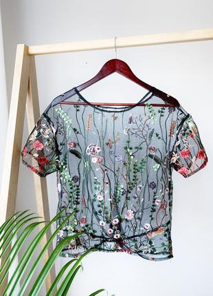 Прозрачная блузка футболка в вишивку