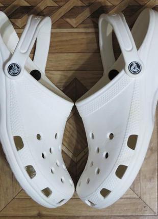 Белые сабо босоножки кроксы crocs crocband{оригинал}р.40-41