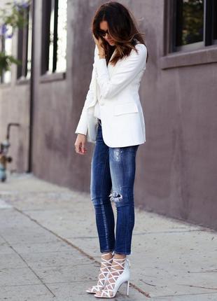 Брендовый белый коттоновый пиджак жакет блейзер precis petite ...