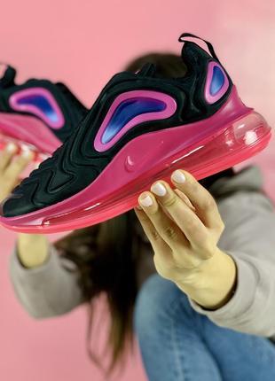 Шикарные женские кроссовки nike air max 720 в розово черном цв...