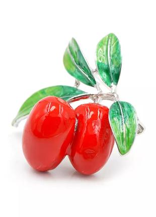 Брошь оливка красный
