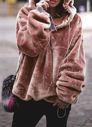 флисовая курточка-толстовка оверсайз, худи с капюшоном.