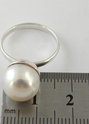Кольцо, крупный, 11 мм  пресноводный белый жемчуг, серебро 925