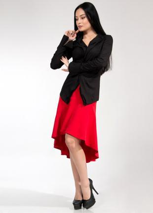 Юбка женская красного цвета со шлейфом, юбка молодежная