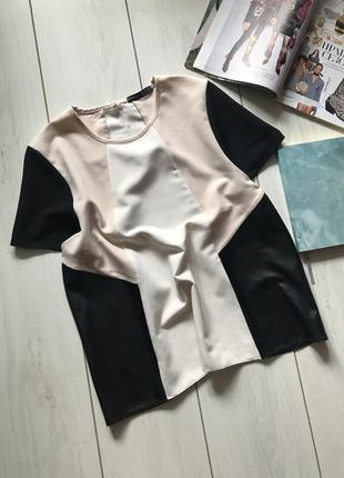 Блуза с комбинацией под кожу