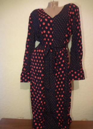 Красивое яркое длинное платье в горох yessica размер xl xxl