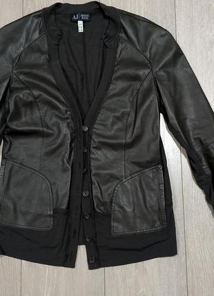 Armani jeans с натуральной кожей пиджак куртка кофта