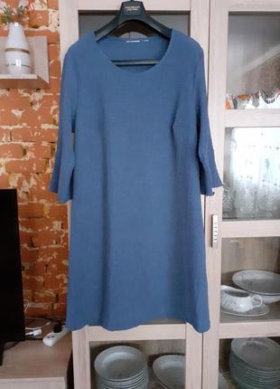 Фактурное с красивыми рукавами платье большого размера