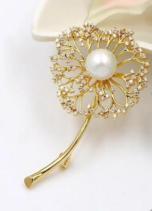 Элитная ювелирная брошь одуванчик с цирконием