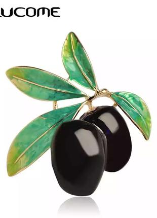 Брошь-подвеска оливка фиолетово-черная эмаль