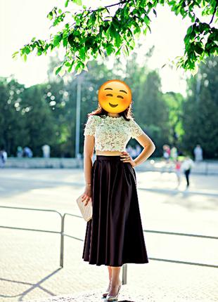 Выпускное платье, кружевной топ / миди юбка , вечернее платье