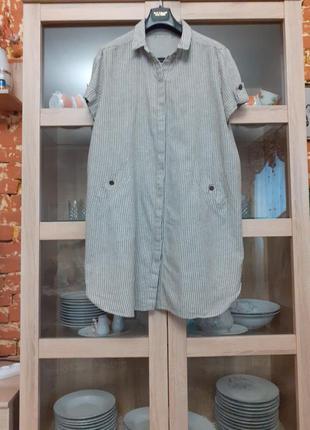 Обалденное котоново-льняное с карманами платье рубашка большог...
