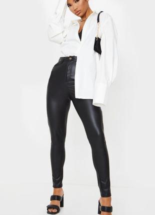 Кожаные штаны высокая талия 🔥prettylittlething🔥 кожаные брюки