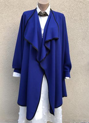 Кардиган,жакет,пиджак синий с черной окантовкой,свободный крой...