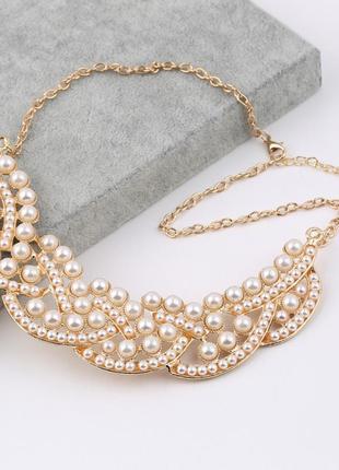 Женственное жемчужное летнее ожерелье чокер колье