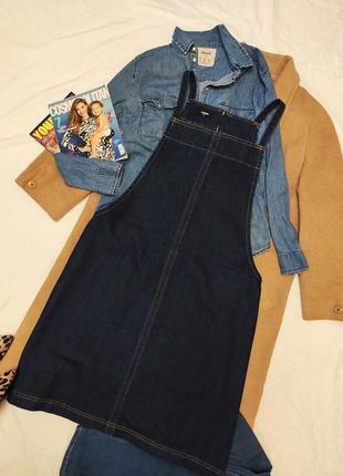 Сарафан комбинезон платье джинсовое мили синее большое батал т...