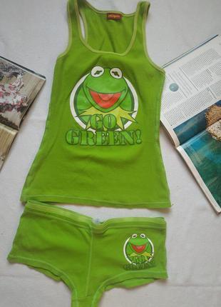 "Домашний комплект майка + шорты ""go green"" the mappets"