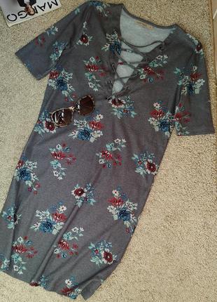 Last girl стильное платье со шнуровкой, цветочный принт