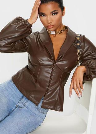 Кожаная рубашка 🔥prettylittlething🔥 стильная рубашка с эко кожи