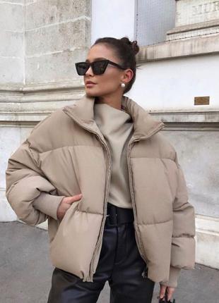 Объемная бежевая куртка дутик Zara