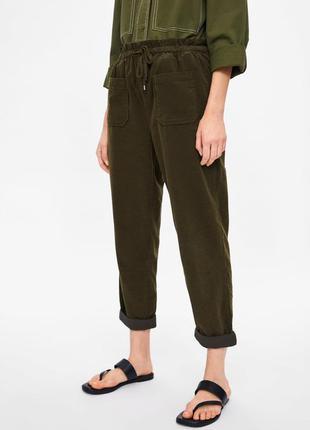 Вельветовые брюки джоггеры zara