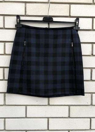 Мини юбка в клетку с замочками на карманах, new look
