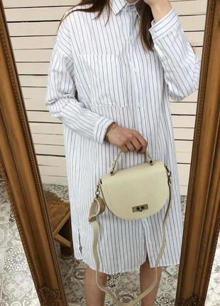 Белое платье рубашка в полоску