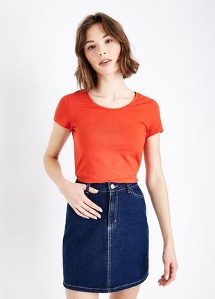 New look. товар из англии. оранжевая футболка с круглым вырезо...