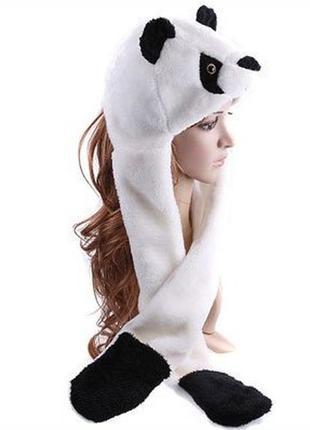 Женская шапка панда с шарфом и варежками
