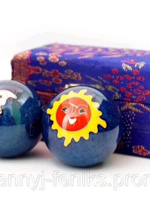"""Шары массажные музыкальные """" Солнце Луна"""" синие"""