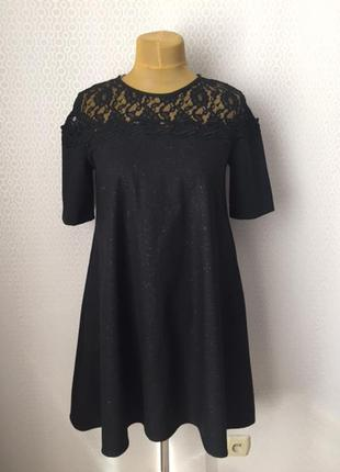 Оригинальное нарядное платье с кружевом на кокетке, размер при...