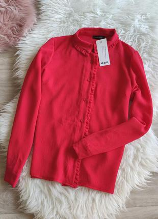 Новая красная блузка с рюшкой made in italy из каталога boohoo