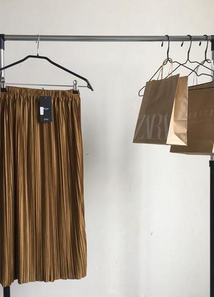 Стильная плиссированная юбка миди в стиле zara