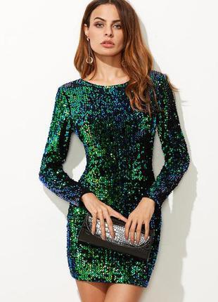 🌿бархатное, нарядное, шикарное платье в пайетку. размер s-xs
