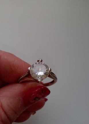 Перстень кольцо женское серебро с позолотой