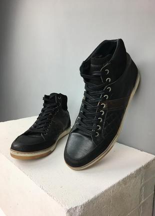 Мужские высокие кожаные кроссовки